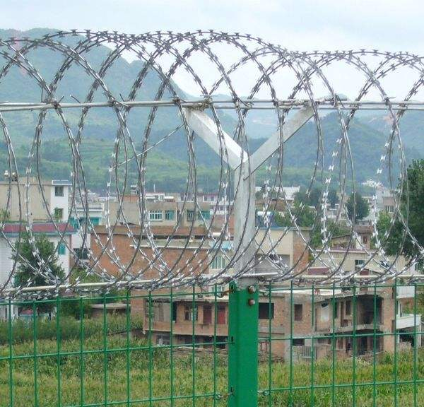 Use of Razor Wire and wire mesh fence